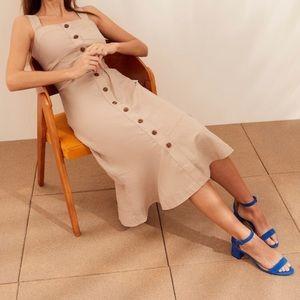 Banana Republic Linen-Blend Button-Front Dress sz2